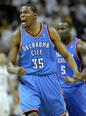 MEMPHIS, TN - MAY 09:  Kevin Durant #35 of the Oklahoma City Thunder celebrates during the game against the Memphis Grizzlies in Game Four of the Western Conference Semifinals in the 2011 NBA Playoffs at FedExForum on May 9, 2011 in Memphis, Tennessee.The