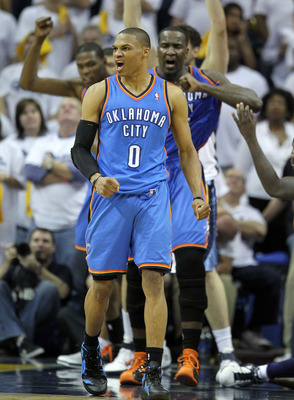 MEMPHIS, TN - MAY 09:  Russell Westbrook #0 of the Oklahoma City Thunder celebrates during the game against the Memphis Grizzlies in Game Four of the Western Conference Semifinals in the 2011 NBA Playoffs at FedExForum on May 9, 2011 in Memphis, Tennessee