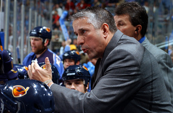 ATLANTA - DECEMBER 17:  Head Coach Bob Hartley of the Atlanta Thrashers gives instructions to his team against the Florida Panthers on December 17, 2005 at Philips Arena in Atlanta, Georgia. The Thrashers won the game 2-1. (Photo by Scott Cunningham/Getty