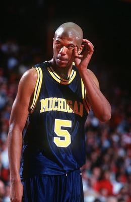 2 MAR 1994:  A CANDID PORTRAIT OF MICHIGAN GUARD JALEN ROSE ON THE COURT DURING A 71-58 LOSS TO WISCONSIN.   Mandatory Credit: Todd Rosenberg/ALLSPORT