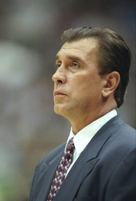27 May 1997:  Coach Rudy Tomjanovich of the Houston Rockets watches his players during a playoff game against the Utah Jazz at the Delta Center in Salt Lake City, Utah.  The Jazz won the game 96-91.   Mandatory Credit: Brian Bahr  /Allsport