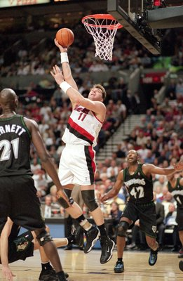 26 Apr 2000: Arvydas Sabonis #11 of the Portland Trailblazers makes a layup during the NBA Western Conference Playoffs Round One Game against the Minnesota Timberwolves at the Rose Garden in Portland, Oregon. The Trailblazers defeated the Timberwolves 86-