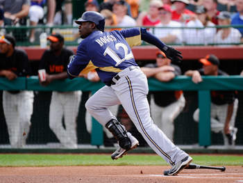 SCOTTSDALE, AZ - MARCH 14:  Brandon Boggs #12 of the Milwaukee Brewers bats against the San Francisco Giants during the spring training baseball game at Scottsdale Stadium on March 14, 2011 in Scottsdale, Arizona.  (Photo by Kevork Djansezian/Getty Images