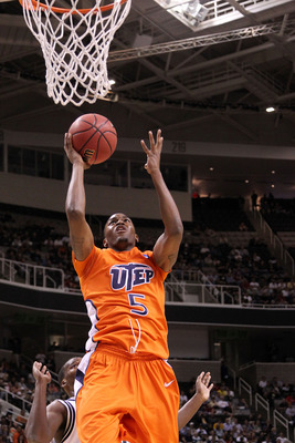 SAN JOSE, CA - MARCH 18:  Guard Julyan Stone #5 of the UTEP Miners takes a shot against the Butler Bulldogs during the first round of the 2010 NCAA men's basketball tournament at HP Pavilion on March 18, 2010 in San Jose, California.  (Photo by Jed Jacobs