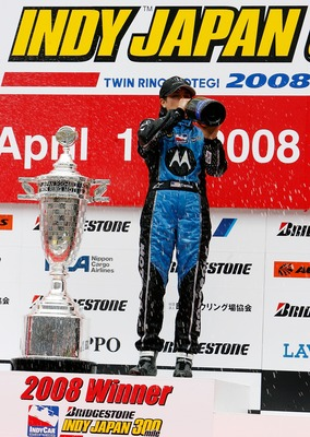 MOTEGI, JAPAN - APRIL 20:  Danica Patrick, driver of the #7 Motorola Andretti Green Racing celebrates after winning  the IndyCar Series Bridgestone Indy Japan 300 Mile on April  20, 2008 at the Twin Ring Motegi in Motegi, Japan.  (Photo by Darrell Ingham/