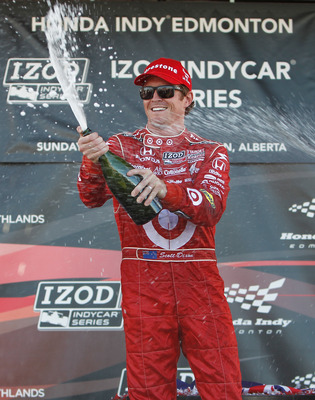EDMONTON, AB - JULY 25:  Scott Dixon driver of the #9 Target Chip Ganassi Racing dallara Honda sprays champagne after winning  the Indy Car Series Honda Indy Edmonton on July 25, 2010 at Edmonton City Centre Airport in Edmonton, Alberta, Canada.  (Photo b