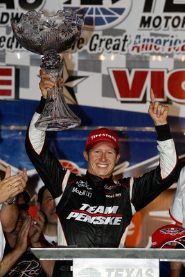 FORT WORTH, TX - JUNE 05:  Ryan Briscoe of Australia, driver of the #6 Team Penske Dallara Honda, celebrates in victory lane after winning the IZOD IndyCar Series Firestone 550k at Texas Motor Speedway June 5, 2010 in Fort Worth, Texas.  (Photo by Chris G