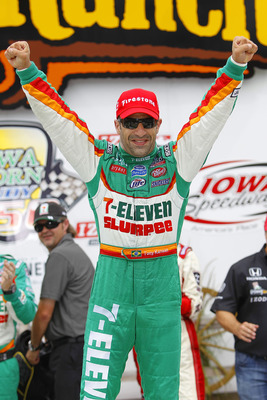 NEWTON, IA - JUNE 20:  Tony Kanaan of Brazil, driver of the #11 7-Eleven Andretti Autosports Dallara Honda, celebrates in victory lane following his win at the IRL Indycar Series Iowa Corn Indy 250 on June 20, 2010 in Newton, Iowa.  (Photo by Chris Trotma