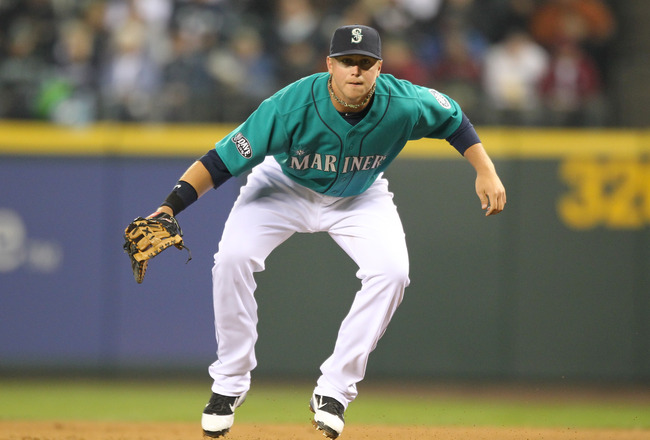 SEATTLE, WA - APRIL 08:  First baseman Justin Smoak #17 of the Seattle Mariners follows the play against the Cleveland Indians during the Mariners' home opener at Safeco Field on April 8, 2011 in Seattle, Washington. (Photo by Otto Greule Jr/Getty Images)