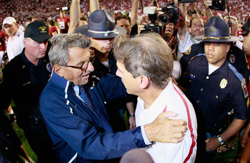 Penn State's Joe Paterno and Alabama's Nick Saban