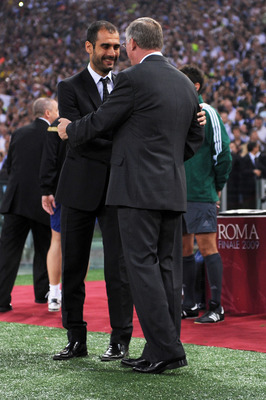 ROME - MAY 27:  Josep Guardiola coach of Barcelona greeets Sir Alex Ferguson manager of Manchester United before the UEFA Champions League Final match between Barcelona and Manchester United at the Stadio Olimpico on May 27, 2009 in Rome, Italy.  (Photo b