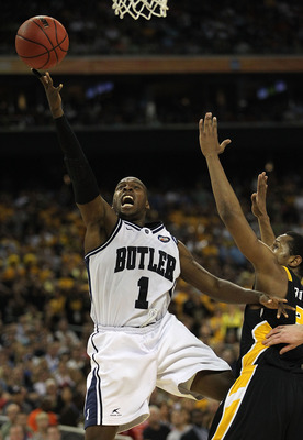 HOUSTON, TX - APRIL 02:  Shelvin Mack #1 of the Butler Bulldogs goes to the hoop against Virginia Commonwealth Rams during the National Semifinal game of the 2011 NCAA Division I Men's Basketball Championship at Reliant Stadium on April 2, 2011 in Houston
