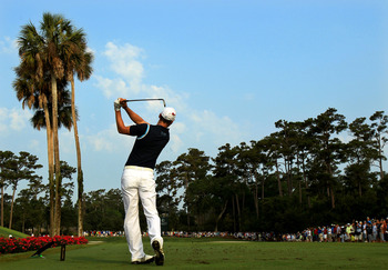 PONTE VEDRA BEACH, FL - MAY 12:  Martin Kaymer of Germany hits his tee shot on the third hole during the first round of THE PLAYERS Championship held at THE PLAYERS Stadium course at TPC Sawgrass on May 12, 2011 in Ponte Vedra Beach, Florida.  (Photo by S