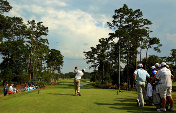 PONTE VEDRA BEACH, FL - MAY 13:  Lucas Glover hits his tee shot on the fourth hole during the second round of THE PLAYERS Championship held at THE PLAYERS Stadium course at TPC Sawgrass on May 13, 2011 in Ponte Vedra Beach, Florida.  (Photo by Streeter Le
