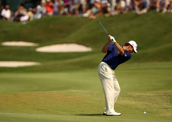 PONTE VEDRA BEACH, FL - MAY 08:  Lee Westwood of England plays his second shot on the fifth hole during the third round of THE PLAYERS Championship held at THE PLAYERS Stadium course at TPC Sawgrass on May 8, 2010 in Ponte Vedra Beach, Florida.  (Photo by