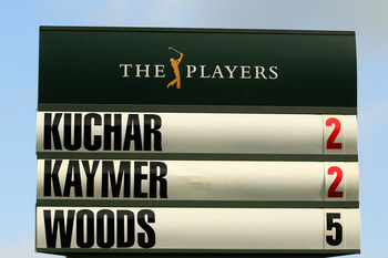 PONTE VEDRA BEACH, FL - MAY 12:  A standard is seen on the eighth hole with Matt Kuchar, Martin Kaymer of Germany and Tiger Woods' score during the first round of THE PLAYERS Championship held at THE PLAYERS Stadium course at TPC Sawgrass on May 12, 2011