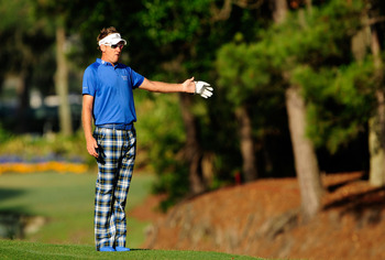 PONTE VEDRA BEACH, FL - MAY 07: Ian Poulter of England  reacts on the tenth fairway during the second round of THE PLAYERS Championship held at THE PLAYERS Stadium course at TPC Sawgrass on May 7, 2010 in Ponte Vedra Beach, Florida.  (Photo by Sam Greenwo