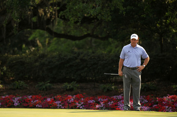 PONTE VEDRA BEACH, FL - MAY 13:  Phil Mickelson looks on from the 14th green during the second round of THE PLAYERS Championship held at THE PLAYERS Stadium course at TPC Sawgrass on May 13, 2011 in Ponte Vedra Beach, Florida.  (Photo by Mike Ehrmann/Gett