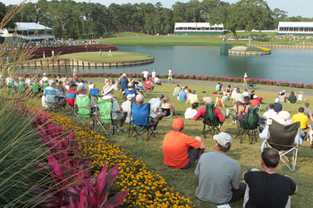 PONTE VEDRA BEACH, FL - MAY 13:  Golf fans watch the play on the 17th hole during the second round of THE PLAYERS Championship held at THE PLAYERS Stadium course at TPC Sawgrass on May 13, 2011 in Ponte Vedra Beach, Florida.  (Photo by Scott Halleran/Gett