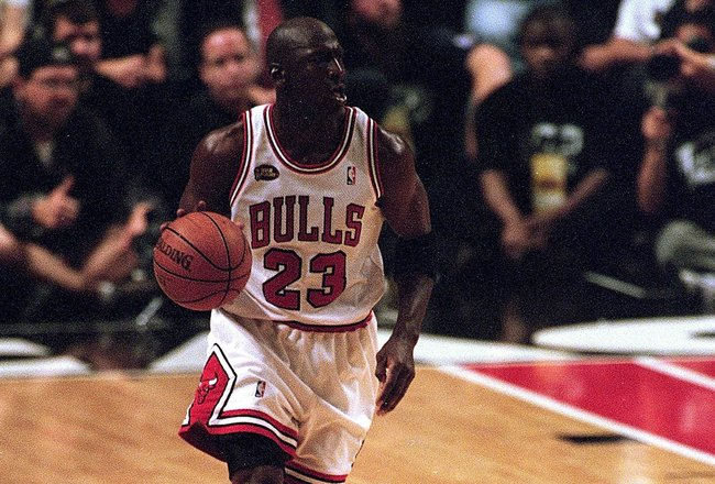 12 Jun 1998:  Michael Jordan #23 of the Chicago Bulls dribbles the ball down the court during the NBA Final game against the Utah Jazz at the United Center in Chicago, Illinois. The Bulls defeated the jazz 81-33. .  Mandatory Credit: Jonathan Daniel  /All