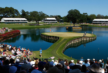 PONTE VEDRA BEACH, FL - MAY 09:  Patrons watch play on the 17th green during the final round of THE PLAYERS Championship held at THE PLAYERS Stadium course at TPC Sawgrass on May 9, 2010 in Ponte Vedra Beach, Florida.  (Photo by Scott Halleran/Getty Image