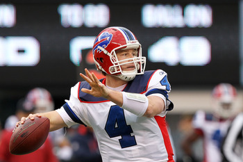 EAST RUTHERFORD, NJ - JANUARY 02:  Brian Brohm #4 of the Buffalo Bills passes against the New York Jets at New Meadowlands Stadium on January 2, 2011 in East Rutherford, New Jersey.  (Photo by Al Bello/Getty Images)