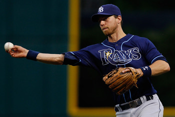 CLEVELAND - MAY 11:  Ben Zobrist #18 of the Tampa Bay Rays throws to first base during the game against the Cleveland Indians on May 11, 2011 at Progressive Field in Cleveland, Ohio.  (Photo by Jared Wickerham/Getty Images)