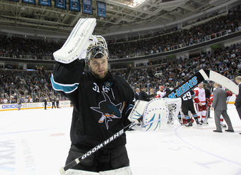 SAN JOSE, CA - MAY 12:  Antti Niemi #31 of the San Jose Sharks skates off the ice after they beat the Detroit Red Wings in Game Seven of the Western Conference Semifinals during the 2011 NHL Stanley Cup Playoffs at HP Pavilion on May 12, 2011 in San Jose,