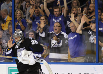 TAMPA, FL - MAY 03: Fans show their apprecaition to goaltender Dwayne Roloson #35 of the Tampa Bay Lightning in his game against the Washington Capitals  in Game Three of the Eastern Conference Semifinals during the 2011 NHL Stanley Cup Playoffs at St Pet