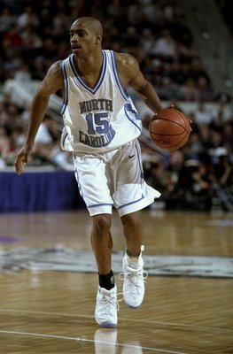 14 Mar 1998:  Guard Vince Carter of the North Carolina Tar Heels in action against the UNC Charlotte 49ers during an NCAA tournament game at the Hartford Civic Center in Hartford, Connecticut.  North Carolina defeated UNC Charlotte 93-83. Mandatory Credit