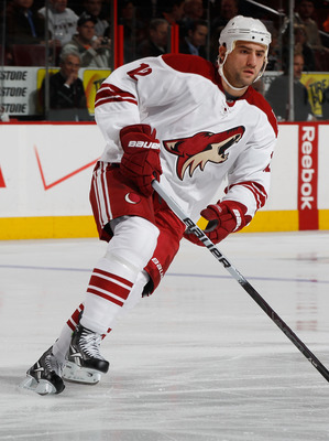 PHILADELPHIA - FEBRUARY 22:  Paul Bissonnette #12 of the Phoenix Coyotes skates against the Philadelphia Flyers on February 22, 2011 at the Wells Fargo Center in Philadelphia, Pennsylvania.Coyotes defeated the Flyers 3-2 in OT.  (Photo by Mike Stobe/Getty