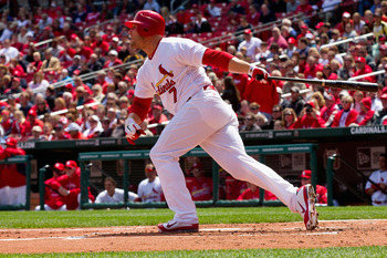ST. LOUIS, MO - APRIL 21: Matt Holliday #7 of the St. Louis Cardinals hits a two-run home run against the Washington Nationals at Busch Stadium on April 21, 2011 in St. Louis, Missouri.  (Photo by Dilip Vishwanat/Getty Images)