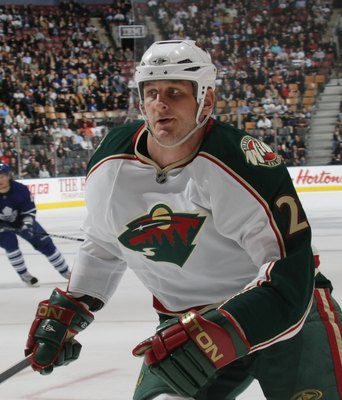 TORONTO, ON - NOVEMBER 10: Derek Boogaard #24 of the Minnesota Wild skates against the Toronto Maple Leafs at the Air Canada Centre on November 10, 2009 in Toronto, Canada. (Photo by Bruce Bennett/Getty Images)
