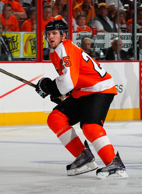 PHILADELPHIA, PA - MAY 02:  Matt Carle #25 of the Philadelphia Flyers skates in Game Two of the Eastern Conference Semifinals against the Boston Bruins during the 2011 NHL Stanley Cup Playoffs at Wells Fargo Center on May 2, 2011 in Philadelphia, Pennsylv