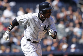 NEW YORK, NY - APRIL 03: Curtis Granderson #14 of the New York Yankees against the Detroit Tigers at Yankee Stadium on April 3, 2011 in the Bronx borough of New York City.  (Photo by Nick Laham/Getty Images)