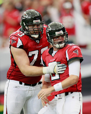 ATLANTA - SEPTEMBER 19:  Quarterback Matt Ryan #2 of the Atlanta Falcons celebrates a touchdown against Arizona Cardinals with Harvey Dahl #73 at Georgia Dome on September 19, 2010 in Atlanta, Georgia.  (Photo by Kevin C. Cox/Getty Images)