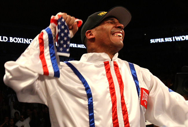 OAKLAND, CA - NOVEMBER 21:  Andre Ward celebrates after defeating Mikkel Kessler of Denmark during their WBA Super Middleweight Championship Bout at the Oakland-Alameda County Coliseum on November 21, 2009 in Oakland, California.  (Photo by Jed Jacobsohn/