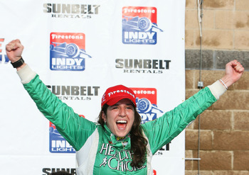 NASHVILLE, TN - JULY 12:  Ana Beatriz of Brazil driver of the #20 Sam Schmidt Motorsports Dallara Indy Light celebrates after winning the Firestone Indy Lights Sunbelt Rentals 100 on July 12, 2008 at the Nashville Superspeedway in Nashville, Tennessee.  (