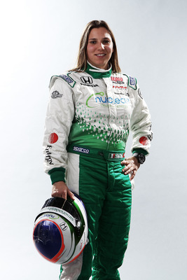 BIRMINGHAM, AL - MARCH 13:  Simona De Silvestro of Switzerland, driver of the #78 Nuclear Clean Air Energy HVM Racing Dallara Honda poses during the IRL Indy Car Series Media Day at Barber Motorsports Park on March 13, 2011 in Birmingham, Alabama.  (Photo