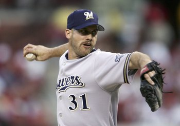 ST. LOUIS, MISSOURI - APRIL 12:  David Bush #31 of the Milwaukee Brewers delivers a pitch against the St. Louis Cardinals in the 1st inning on April 12, 2006 at the Busch Stadium in St. Louis, Missouri.  (Photo by Elsa/Getty Images)