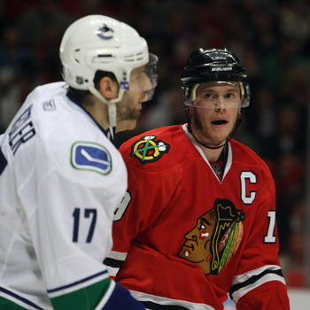 Jonathan Toews, the defending Conn Smythe winner, and Ryan Kesler, the man most likely to succeed him.