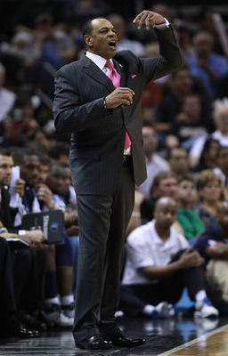 SAN ANTONIO, TX - APRIL 27:  Head coach Lionel Hollins of the Memphis Grizzlies yells against the San Antionio Spurs in Game Five of the Western Conference Quarterfinals in the 2011 NBA Playoffs on April 27, 2011 at AT&T Center in San Antonio, Texas. NOTE