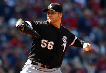 CLEVELAND - APRIL 01:  Mark Buehrle #56 of the Chicago White Sox pitches against  the Cleveland Indians during the Opening Day game on April 1, 2011 at Progressive Field in Cleveland, Ohio.  (Photo by Jared Wickerham/Getty Images)