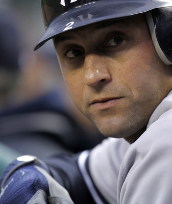 DETROIT, MI - MAY 03: Derek Jeter #2 of the New York Yankees looks on from the dugout while playing the Detroit Tigers at Comerica Park on May 3, 2011 in Detroit, Michigan. Detroit won the game 4-2. (Photo by Gregory Shamus/Getty Images)
