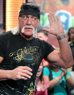 NEW YORK - JANUARY 07:  (U.S. TABS OUT)  TV personality Hulk Hogan appears onstage during MTV's Total Request Live at the MTV Times Square Studios January 7, 2008 in New York City.  (Photo by Scott Gries/Getty Images)