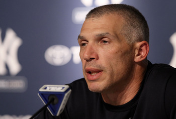 NEW YORK, NY - MAY 14:  Manager Joe Girardi of the New York Yankees speaks to the media after their game against the Boston Red Sox on May 14, 2011 at Yankee Stadium in the Bronx borough of New York City.  (Photo by Jim McIsaac/Getty Images)