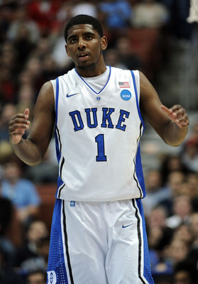 ANAHEIM, CA - MARCH 24:  Kyrie Irving #1 of the Duke Blue Devils looks on against the Arizona Wildcats during the west regional semifinal of the 2011 NCAA men's basketball tournament at the Honda Center on March 24, 2011 in Anaheim, California.  (Photo by