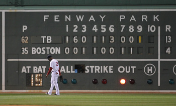 Famous Fenway Park scoreboard during a game against the Tampa Bay Rays