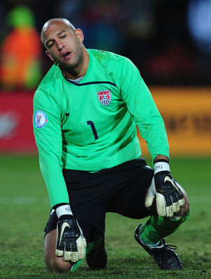 JOHANNESBURG, SOUTH AFRICA - JUNE 28:  Tim Howard of USA shows his dejection during the FIFA Confederations Cup Final between USA and Brazil at the Ellis Park Stadium on June 28, 2009 in Johannesburg, South Africa.  (Photo by Laurence Griffiths/Getty Imag