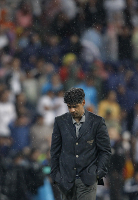 MADRID, SPAIN - MAY 07:  Coach Frank Rijkaard of Barcelona looks dejected during the La Liga match between Real Madrid and Barcelona at the Santiago Bernabeu Stadium on May 7, 2008 in Madrid, Spain. Barcelona lost the match 4-1.  (Photo by Jasper Juinen/G